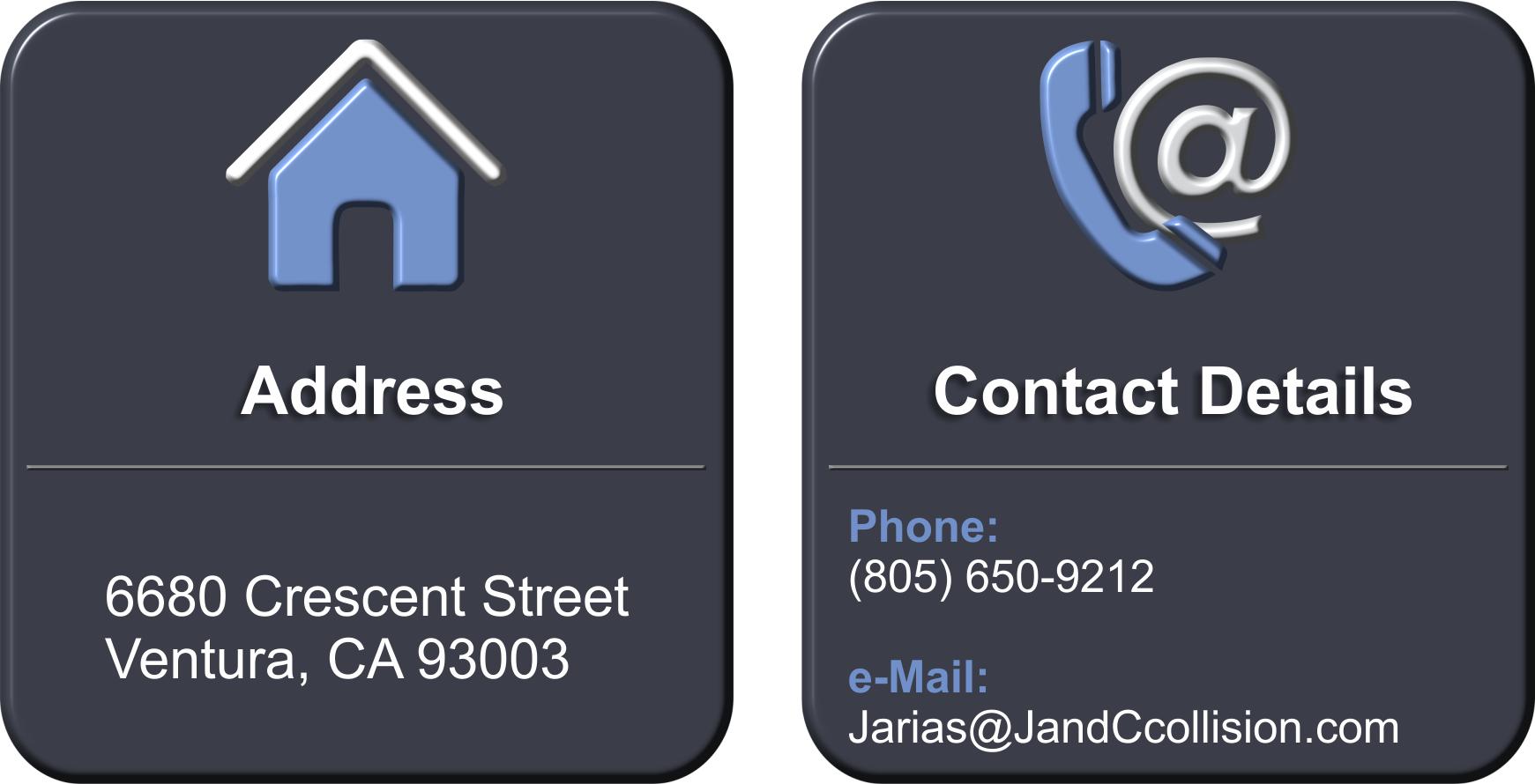 Contact Us, Jarias@JandCcollision.com, 805-650-9212